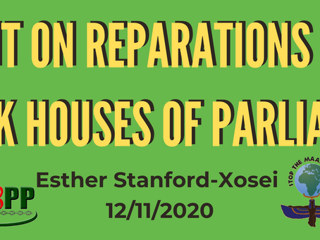 Statement on Reparations Action at the UK Houses of Parliament by Esther Stanford Xosei