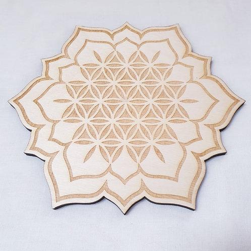Flower of Life Lotus Crystal Grid 8 Inch