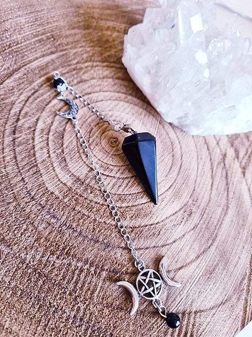 Black Obsidian Triple Moon Pendulum