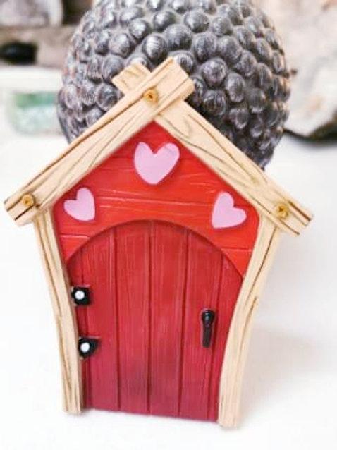 Red Fairy Door with Hearts