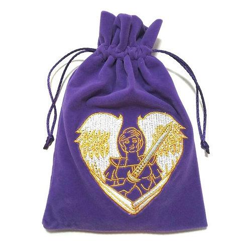Archangel Michael Velvet Tarot / Oracle Card Bag - Purple
