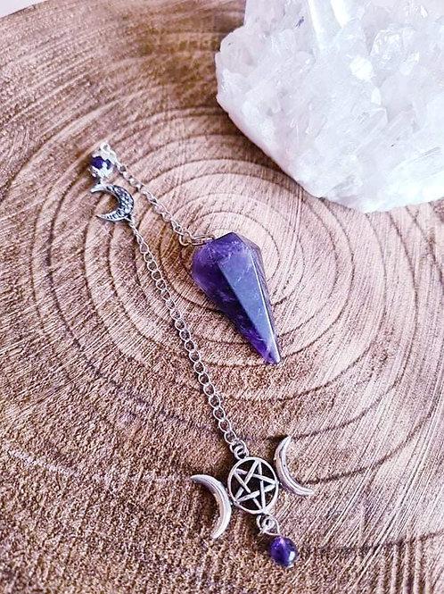 Amethyst Triple Moon Pendulum