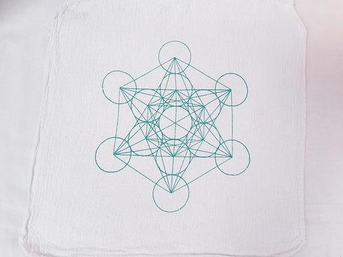 Metatron's Cube green crystal grid cloth