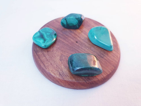 Set of 4 Malachite Tumbled Crystals
