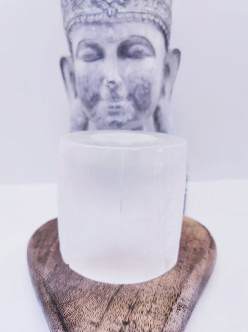 Smooth Selenite T-Light Candle Holder
