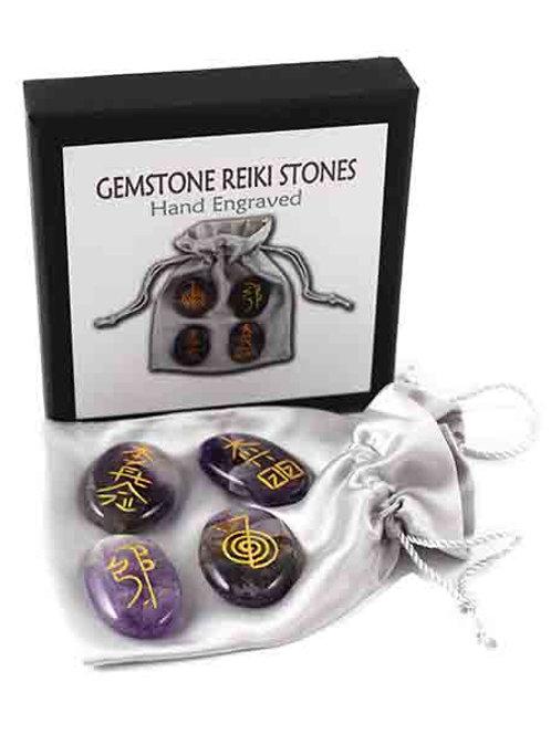 Reiki Stones Set 4pcs Amethyst