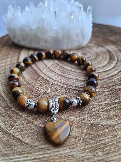 Tigers Eye Bracelet with Heart Charm