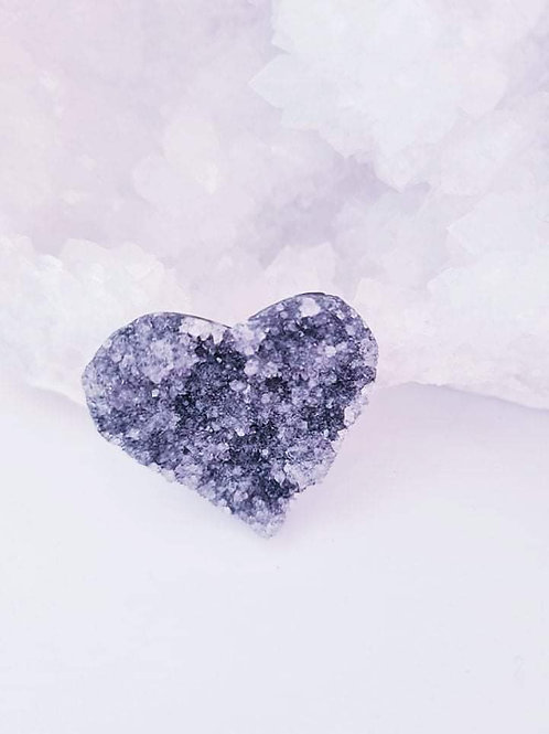 Black Amethyst Druzy  Heart