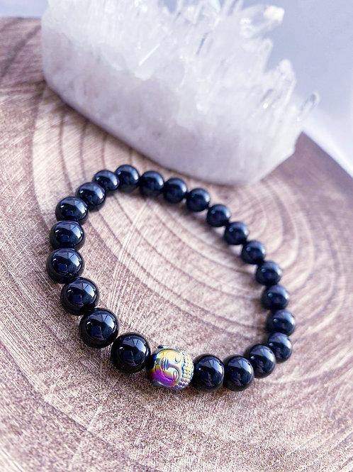 Black Onyx Bracelet with Hematite Buddha charm