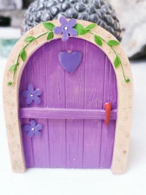 Purple Fairy Door with Heart
