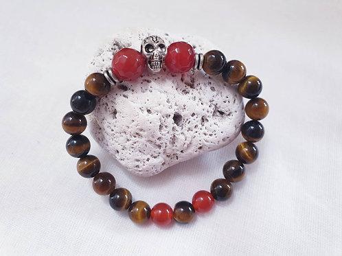 Tigers Eye & Carnelian Skull Bracelet