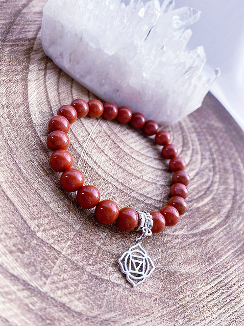 Red Jasper Bracelet With Base Chakra Charm