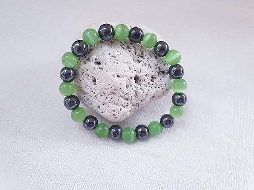 Hematite & Green Cats Eye Bracelet
