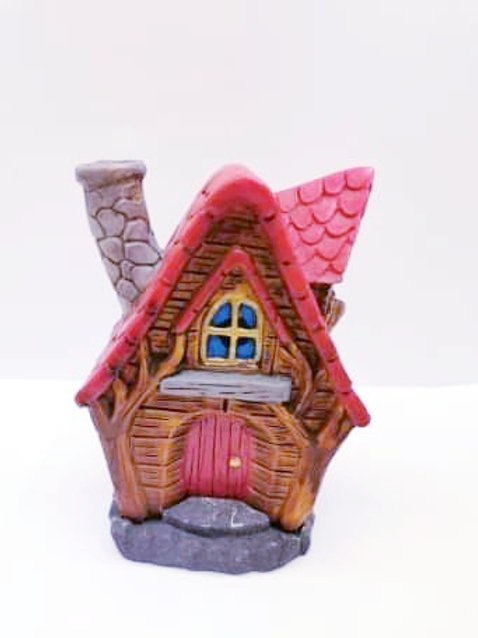 Red Fairy House Incense Cone Burner