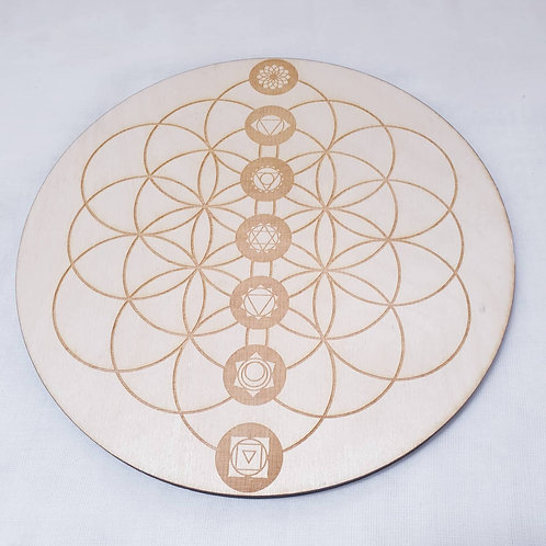 Flower Of Life Charka Crystal Set 8 Inch