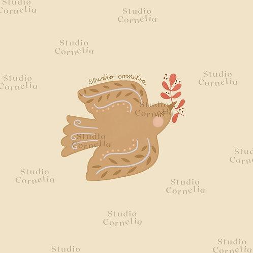 Postzegel illustratie 'kerstvogeltje'