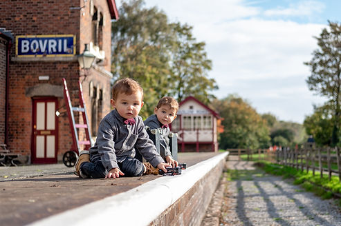 railway station toddler twins