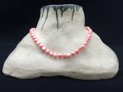 Zoetwaterparel ketting roze