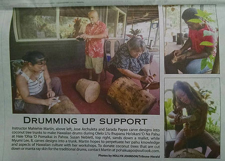halau pahu seeking coconut wood and manta ray skin