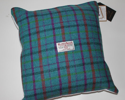 Aqua Purple Tartan Cushion