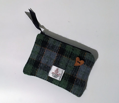 Green Orange Tartan Coin Purse