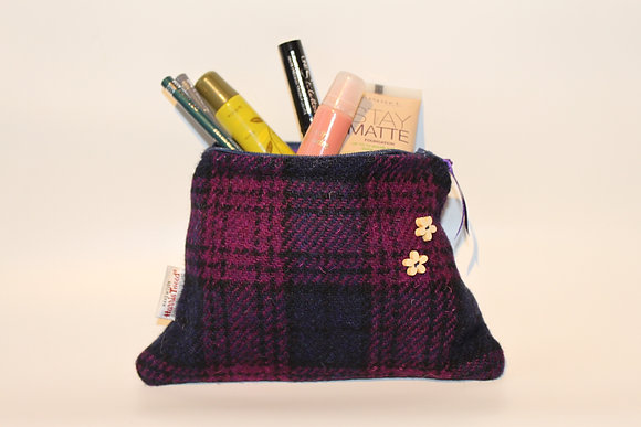 Purple and Navy Tartan Make Up Bag
