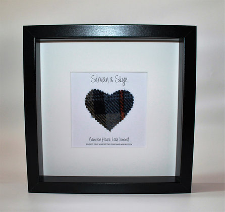 Personalised Frame: Wedding/anniversary Choice of Heart (Black frame)