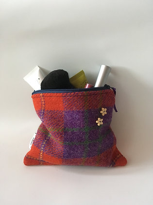 Red Purple Tartan Make Up Bag