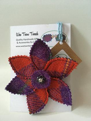 Red Purple Flower Brooch Style 1