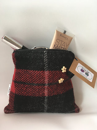 Red Black Tartan Make Up Bag