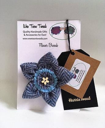 Blue Herringbone Flower Brooch Style 2