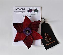 harris tweed flower brooches