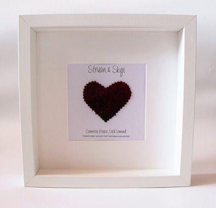 Personalised Frame: Wedding/anniversary Choice of Heart (White frame)