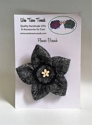 Grey Tartan Flower Brooch Style 2