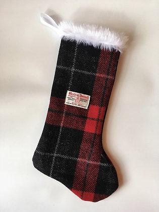 Red BlackTartan 'Round Toe' Christmas Stocking