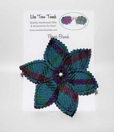 Turquoise/Purple Flower Brooch Style 1
