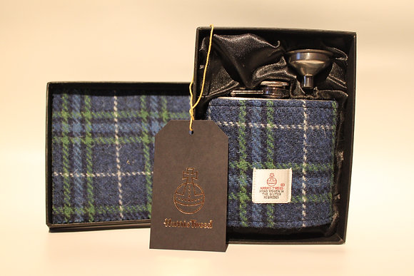 Blue and Green Tartan Hip Flask