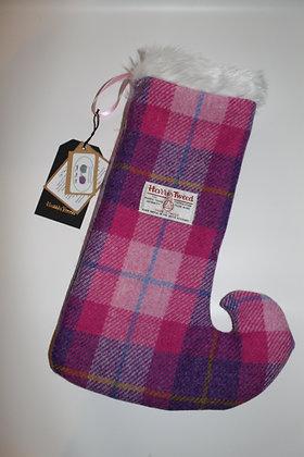 Pink Tartan 'Pixie Toe' Christmas Stocking