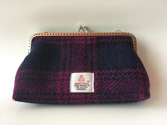 Purple Navy Tartan Clutch Purse