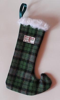 Green Tartan 'Pixie toe' Christmas Stocking