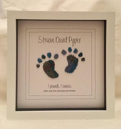 Personalised Frame: Blue Tartan Baby Boy (White frame)