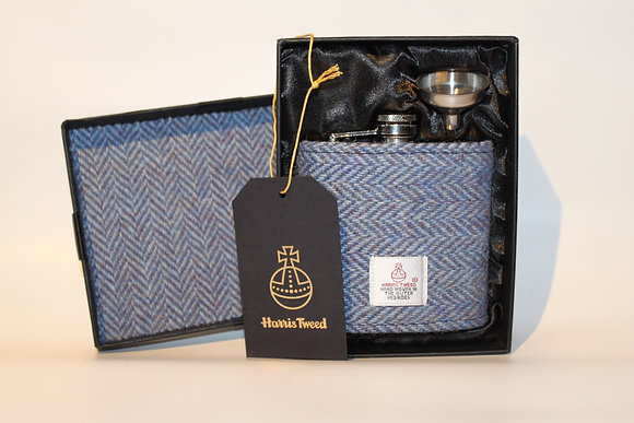 Light Blue Herringbone Hip Flask