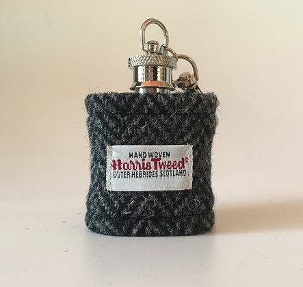 Navy Herringbone Hip Flask Key Ring