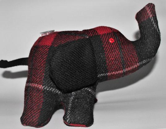 Red and Black Tartan Elephant Stuffed Animal