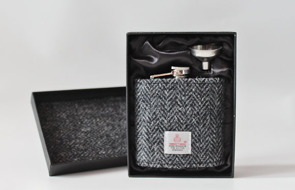 Black & Grey Herringbone Hip Flask