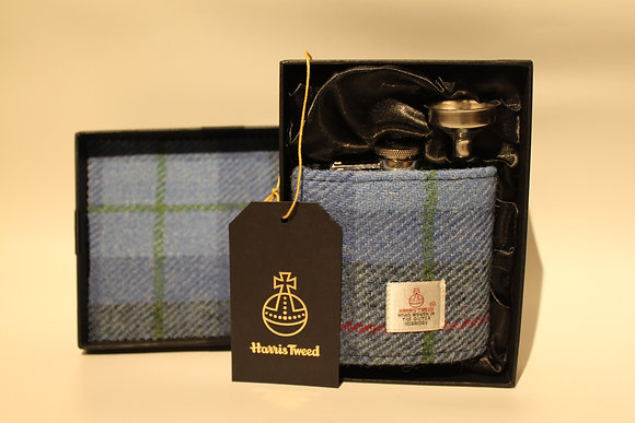 Blue Tartan Hip Flask