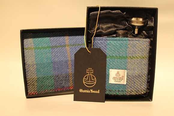 Aqua Blue Tartan Hip Flask