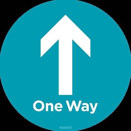 Safe Distance Round Floor Sticker - One Way Arrow