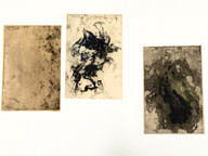 Works printed from copper plates that have been corroded by rain and soil