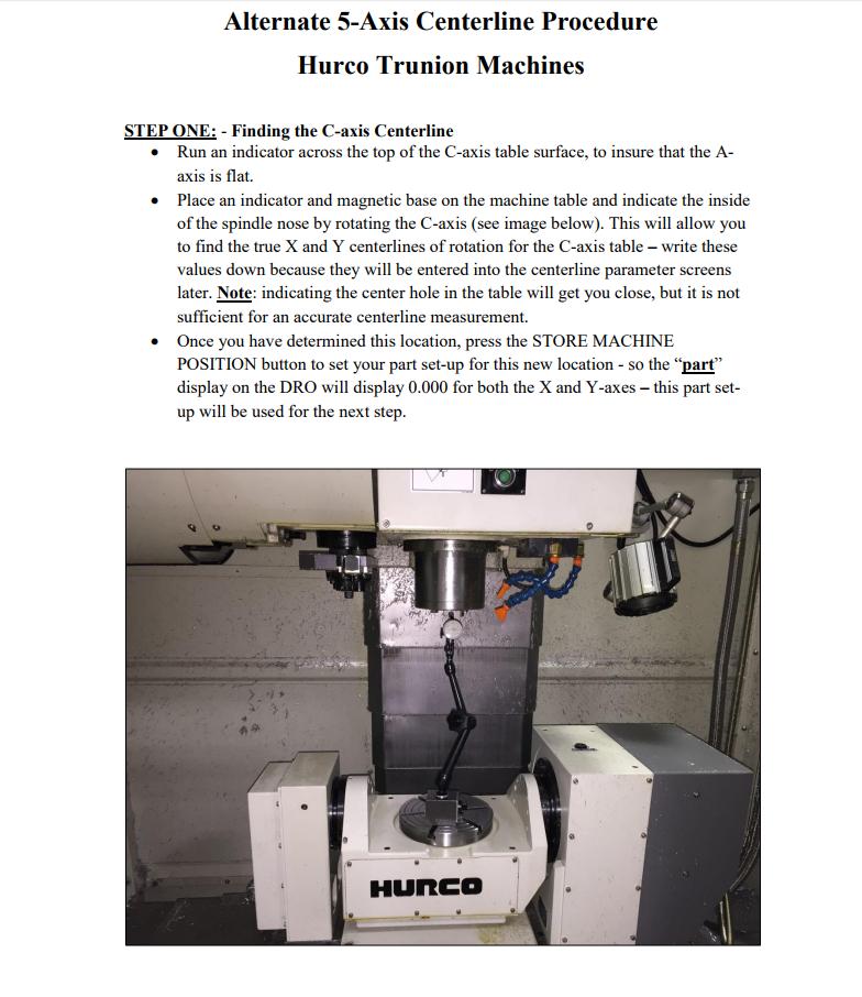 Hurco DIY: measuring 5-axis trunnion centerlines